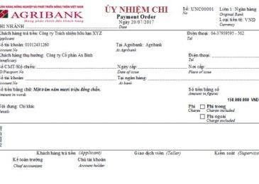 Giấy và biên lai phiếu chuyển tiền Agribank sang ngân hàng khác 2021