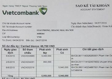 Mẫu đơn xin sao kê tài khoản ngân hàng Vietcombank. Tải về và hướng dẫn